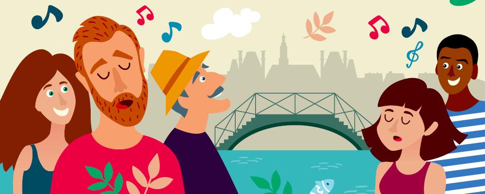 chanteuse et chanteurs au bord du canal Saint-Martin