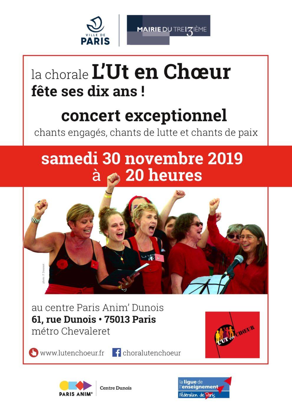 Affiche du concert L'Ut en Chœur du 30/11/2019 à Paris