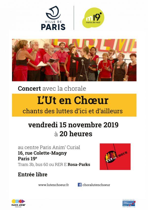 L'Ut en chœur chante au centre Curial vendredi 15 novembre 2019
